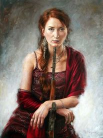 Realismus, Portrait, Karminrot, Waffe