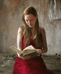 Junge frau, Lesen, Wörterbuch, Kleid