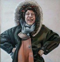 Weiblich, Winterbekleidung, Realismus, Lachen