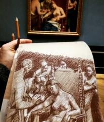 Skizze, Rötel, Kleopatra, Guidocagnacci