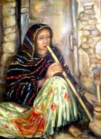 Orientalisch, Shisha, Frau, Malerei