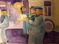 Gedächtnis, Straßenmusiker, Wasserfarben, Malerei