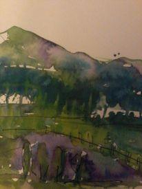 Landschaft, Aquarellmalerei, Fantasie, Aquarell