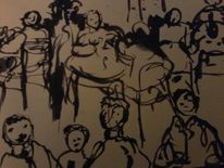 Menschen, Fantasie, Tuschmalerei, Mischtechnik