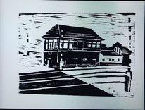 Bahnwärterhaus, Gladbach, Holzdruck, Druckgrafik