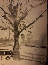 Baum, Rhein, Wasserfarben, Mischtechnik