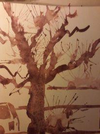 Baum rhein tusche, Aquarell, Baum