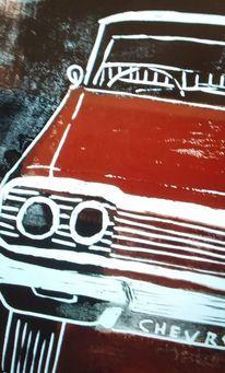 Linoldruck, Auto, Oldtimer, Chevrolet
