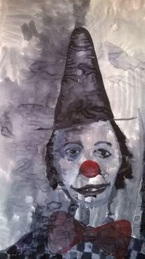 Zirkus, Mischtechnik, Clown