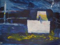Schiff, Rhein, Nacht, Malerei