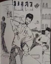 Gedanken, Zeichnung, Friseur, Tuschmalerei