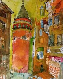 Istanbul, Turm, Ausdrucksmalerei, Galata