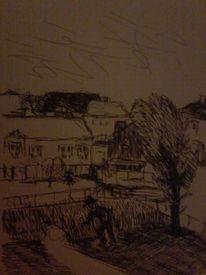 Landschaft, Gedankenbilder, Tuschmalerei, Zeichnungen