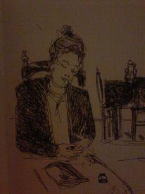 Sitzen d, Mädchen, Beschäftigung, Zeichnungen