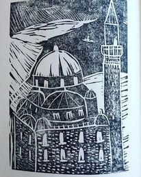 Linoldruck, Moschee, Druckgrafik