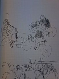 Sport, Radrennen, Fernsehen, Zeichnungen
