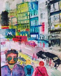 Stadt, Stadtansichten, Menschen, Malerei