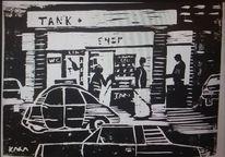 Nacht, Tankstelle, Holzdruck, Druckgrafik