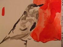 Vogel 2 tusche, Zeichnungen, Vogel