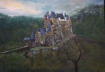 Gebäude, Burg, Landschaft, Malerei