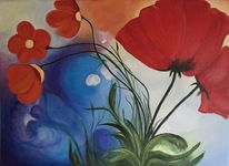 Blau, Blumen, Orange, Mohn