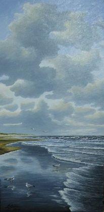 Meer, Wasser, Dünen, Wolken