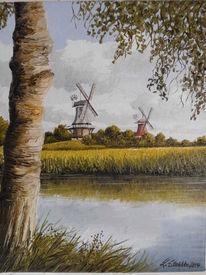 Ostfriesland, Norden, Wasser, Mühle