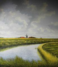 Mühle, Weite, Ostfriesland, Wolken