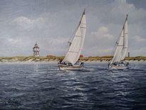 Turm, Möwe, Wasser, Segelschiff
