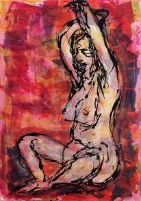 Akt, Körper, Acrylmalerei, Frau