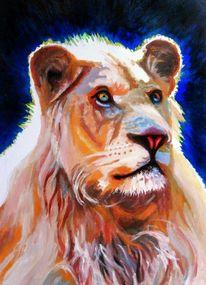 Tiere, Löwin, Acrylmalerei, Raubtier