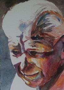 Gesicht, Blick, Aquarellmalerei, Ausdruck
