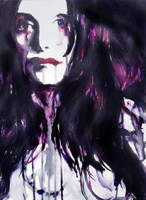 Portrait, Gesicht, Dunkel, Frau