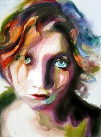 Ausdruck, Aquarellmalerei, Farben, Frau