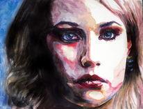 Ausdruck, Aquarellmalerei, Blick, Portrait