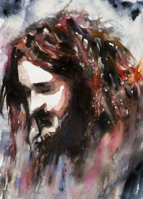 Menschen, Emotion, Aquarellmalerei, Blick