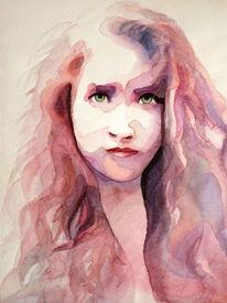 Portrait, Ausdruck, Frau, Augen