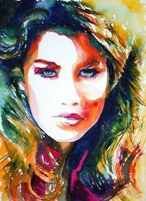 Farben, Aquarellmalerei, Blick, Frau