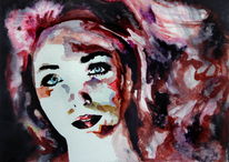 Frau, Blick, Aquarellmalerei, Haare