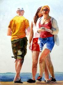 Begegnung, Licht, Menschen, Aquarellmalerei
