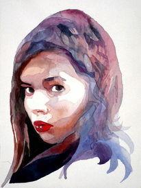 Mädchen, Farben, Blick, Aquarellmalerei