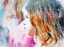 Mädchen, Aquarellmalerei, Kind, Ausdruck