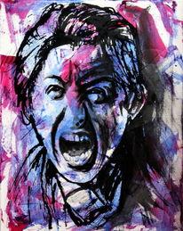 Mann, Ausdruck, Schrei, Farben