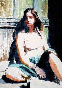 Aquarellmalerei, Frau, Mädchen, Sonne