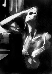 Monochrom, Frau, Aquarellmalerei, Schwarz weiß