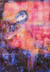 Aquarellmalerei, Frau, Aquarell, Menschen