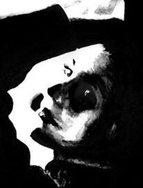 Monochrom, Weiß, Gesicht, Blick