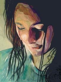 Ausdruck, Schatten, Frau, Blick