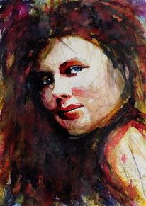 Aquarellmalerei, Ausdruck, Gesicht, Farben