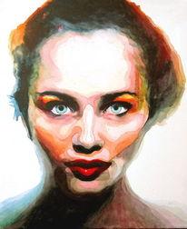 Augen, Frau, Lippen, Aquarellmalerei